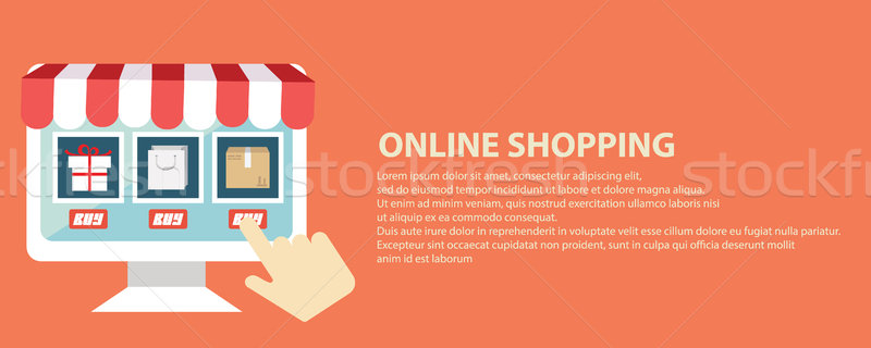 Mobile marketing and online shopping web banner Stock photo © Photoroyalty