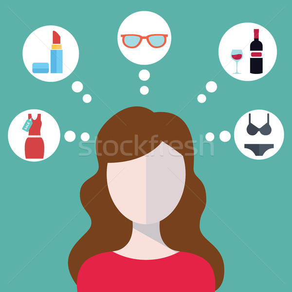 Head of a young modern woman and her thoughts Stock photo © Photoroyalty