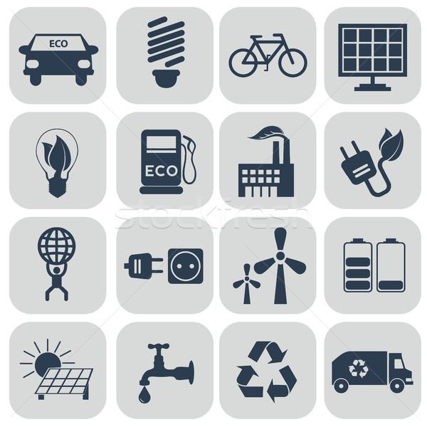 Ecology icons set on grey Stock photo © Photoroyalty