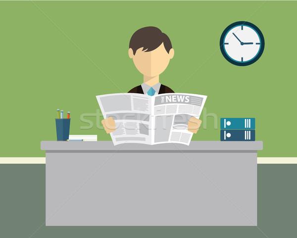 Zakenman lezing krant kantoor business man Stockfoto © Photoroyalty