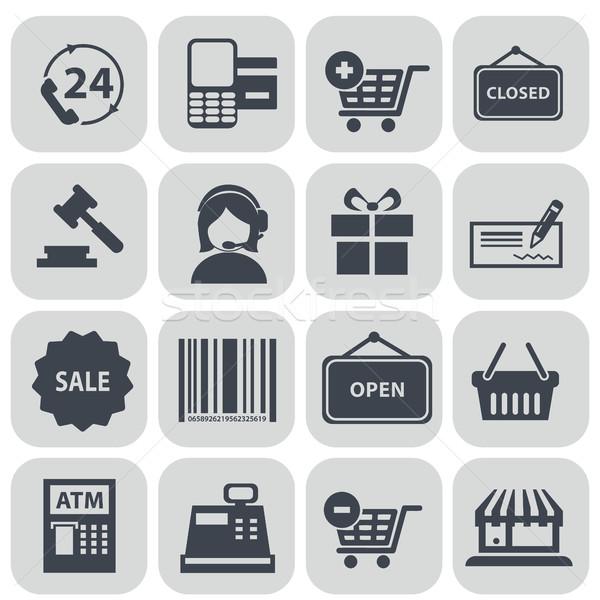Zestaw zakupy ikona czarny szary Zdjęcia stock © Photoroyalty