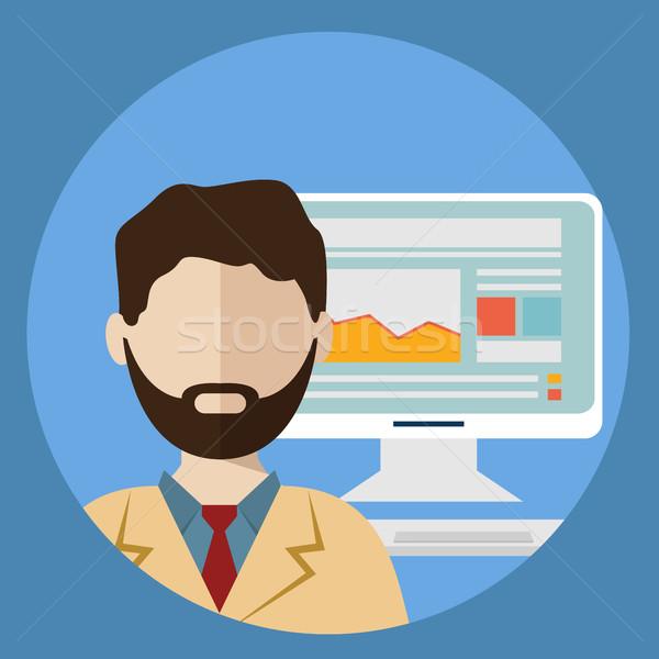 Biznesmen działalności wzrostu wykres Internetu Zdjęcia stock © Photoroyalty