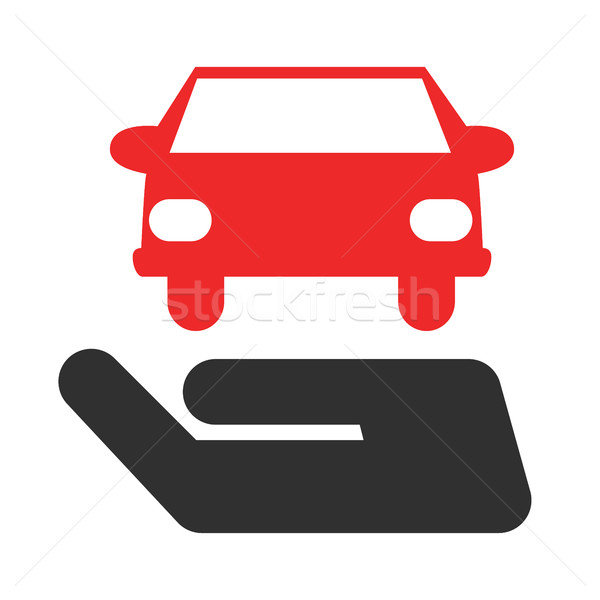 Hand with car, Passenger car insurance vector concept in flat style. Stock photo © Photoroyalty