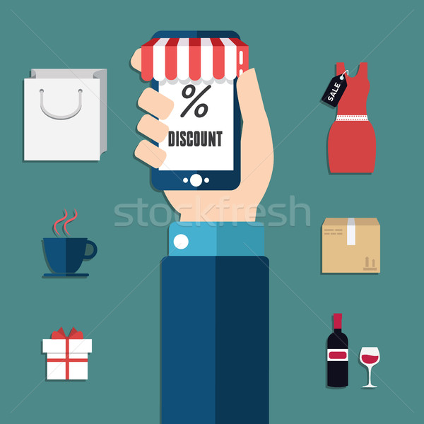 Vector collection of modern flat and colorful shopping icons with long shadow. Design elements for m Stock photo © Photoroyalty