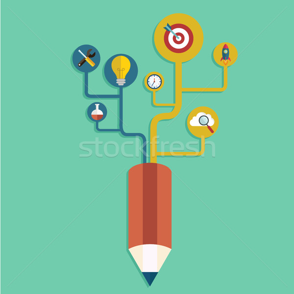 Creative pencil concept Growth Tree idea, Vector illustration Modern template Design Stock photo © Photoroyalty