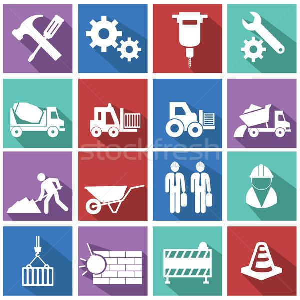 vector flat construction icon set on colorful background Stock photo © Photoroyalty