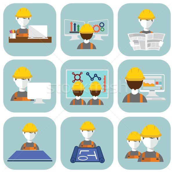 Engineer construction manufacturing worker flat design set Stock photo © Photoroyalty