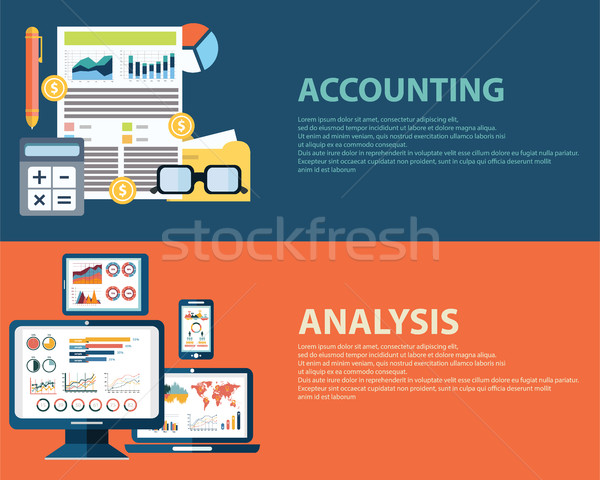 Flat style business analysis infographic concept and accounting finance. Web banners templates set Stock photo © Photoroyalty