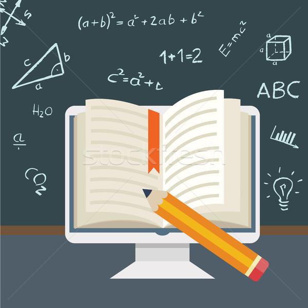 Flat design Online education Stock photo © Photoroyalty