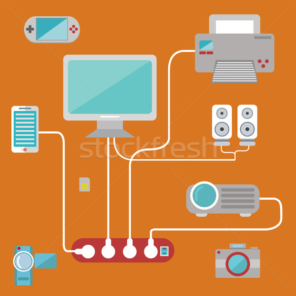 Technology big items connection power vector set. Stock photo © Photoroyalty