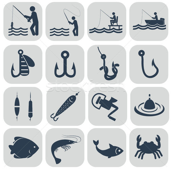 Fishing icons in single color Stock photo © Photoroyalty
