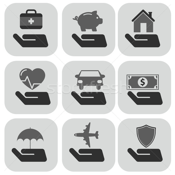 Insurance hand and items icons set Vector Illustration Stock photo © Photoroyalty