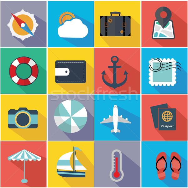 Flat Quality Travel Map Icons Stock photo © Photoroyalty