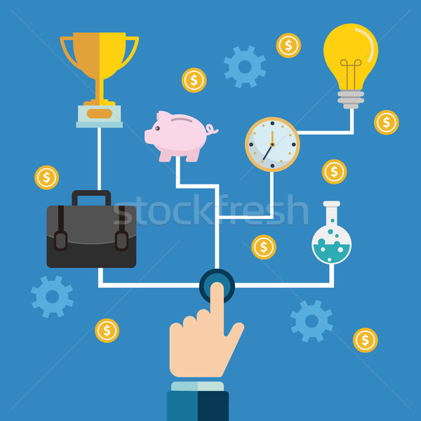 Start or launch with gears and cogs various icons for industry business. hands pushing the button. Stock photo © Photoroyalty