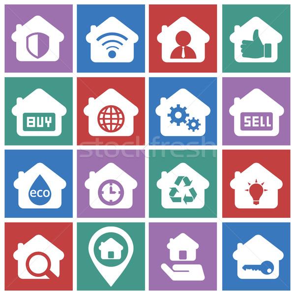 Houses icons set. Real estate. Stock photo © Photoroyalty