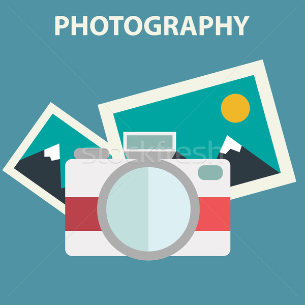 Photo camera illustration in flat color design Stock photo © Photoroyalty