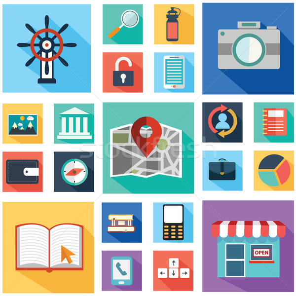 Vector collection of colorful flat business and finance icons with long shadow. Design elements for  Stock photo © Photoroyalty