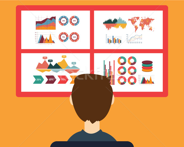 Analysis of information on the dashboard. Monitoring and statistics - vector illustration Stock photo © Photoroyalty