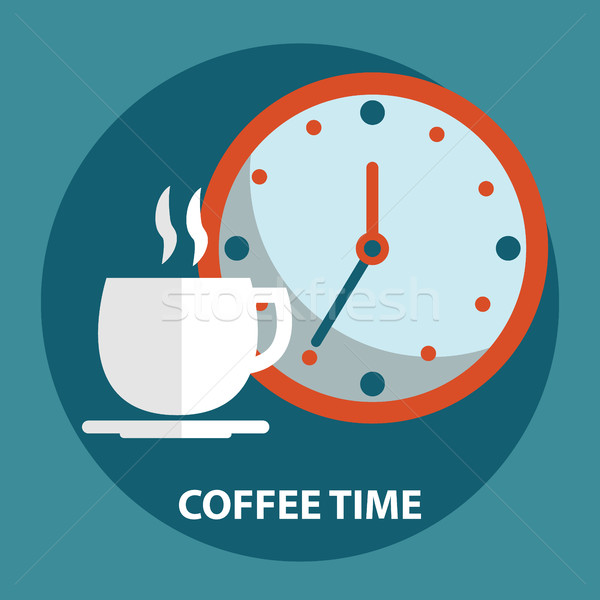 Cup of coffee with clock. Coffee time, coffee break concept Stock photo © Photoroyalty
