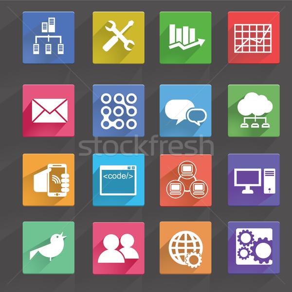 Vector illustration of computer technology icons set. Stock photo © Photoroyalty