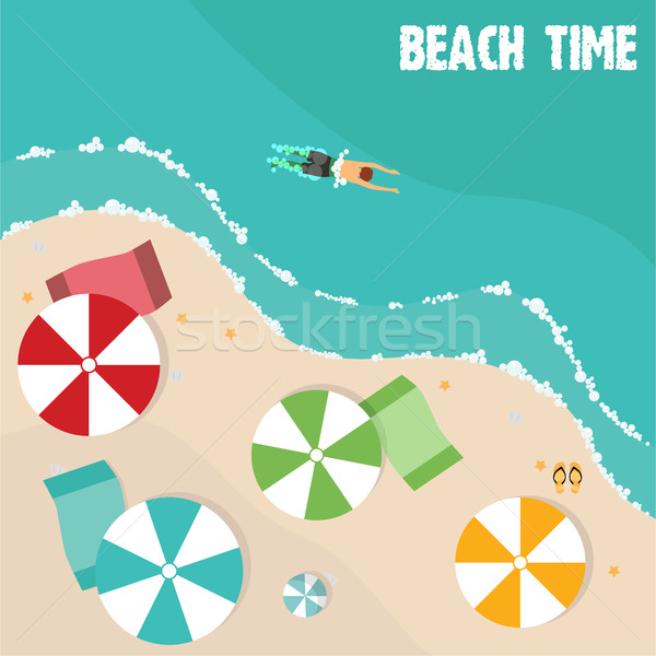 Summer beach in flat design, aerial view, sea side and umbrellas, vector illustration Stock photo © Photoroyalty