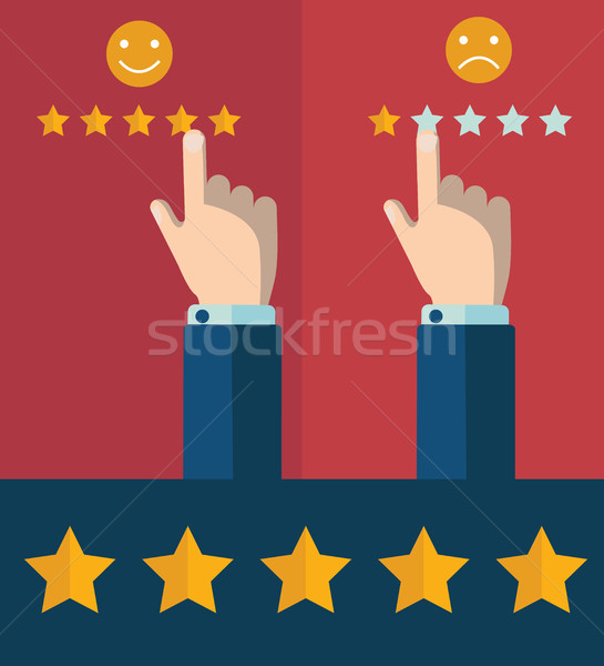 Vector customer review concepts in flat style - male hand choosing positive review Stock photo © Photoroyalty