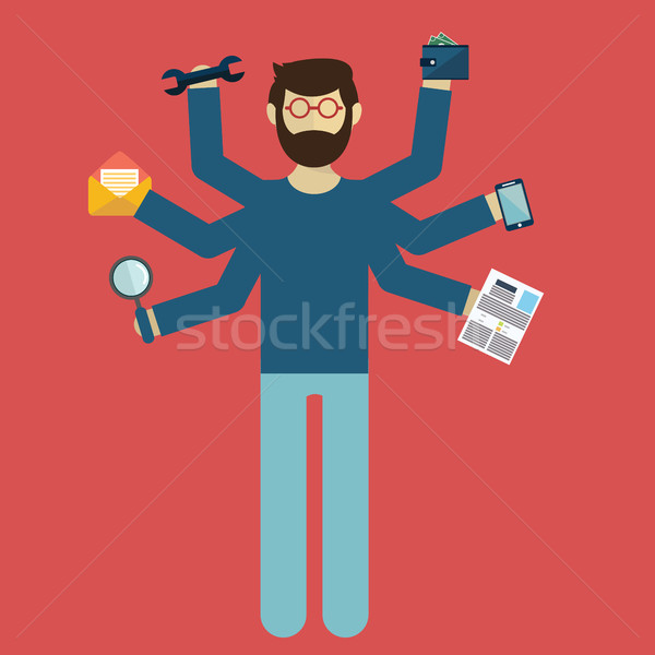 Multitasking. Human resource and self employment - vector illustration Stock photo © Photoroyalty