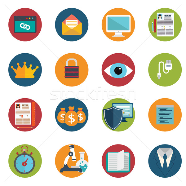 Web design objects, delivery, business, office and marketing items icons. Stock photo © Photoroyalty