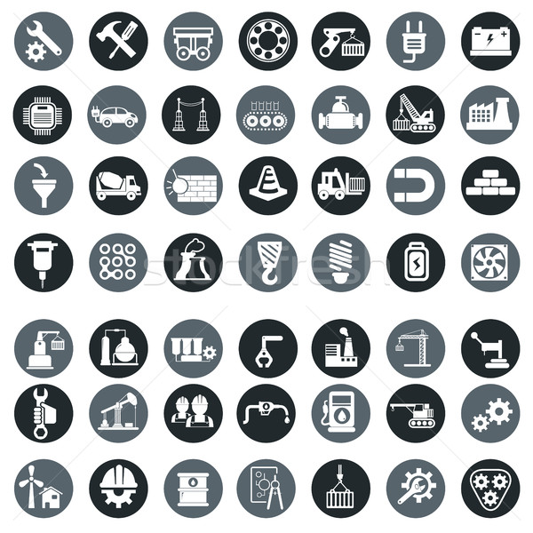 Vector industry factory icons set Stock photo © Photoroyalty