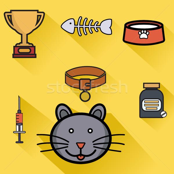 Pet care saúde ícones isolado comida Foto stock © Photoroyalty