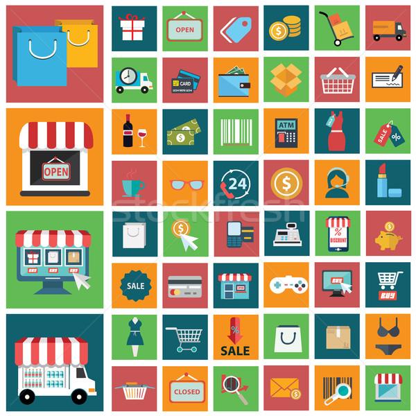 Szett modern vásárlás ikon szett ikonok számítógép Stock fotó © Photoroyalty