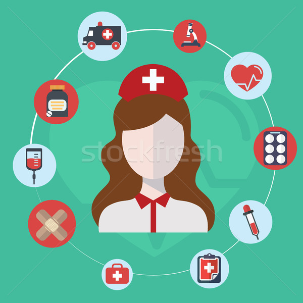 Doctor, nurse concept flat icons set , hospital Doctor, nurse jobs for infographics design web eleme Stock photo © Photoroyalty
