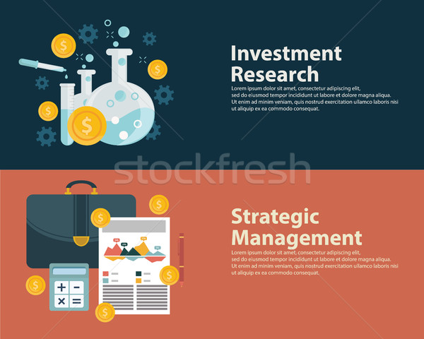 Flat style business success strategy target infographic concept and Investment research. Web banners Stock photo © Photoroyalty