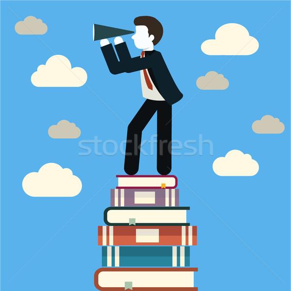 Ontwerp zakenlieden naar toekomst trends boek Stockfoto © Photoroyalty
