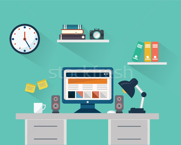 Terv munkaterület számítógép eszközök lámpa hangfal Stock fotó © Photoroyalty