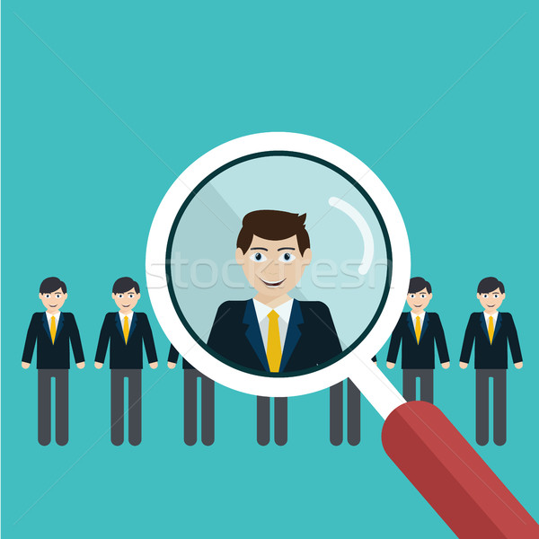 Vector illustration of finding professional staff with magnifying glass Stock photo © Photoroyalty