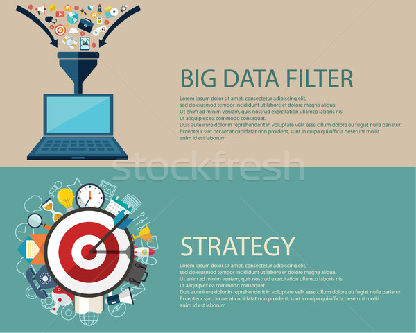 Flat style business strategy and big data filter concept. Web banners templates set Stock photo © Photoroyalty