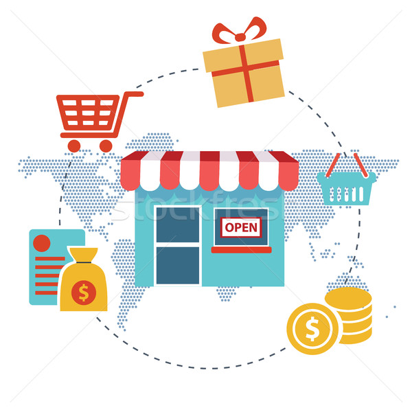 Flat design modern vector illustration concept of pay per click internet shopping. Isolated on styli Stock photo © Photoroyalty