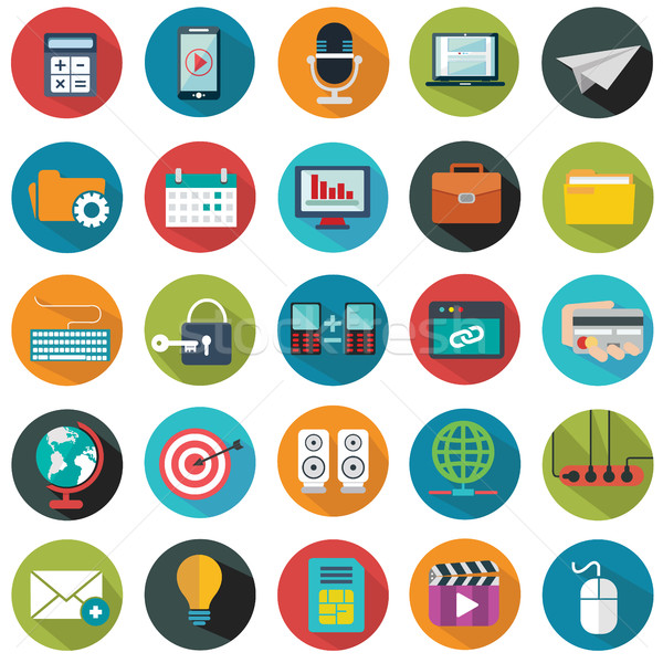 Stock photo: Modern flat icons vector collection with long shadow effect in stylish colors of web design objects,