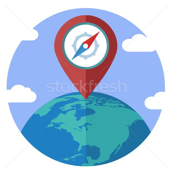 Földgömb tő szín ikon Föld felirat Stock fotó © Photoroyalty