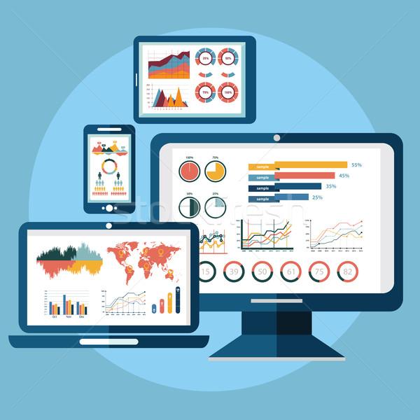 Ontwerp moderne website analytics Zoek informatie Stockfoto © Photoroyalty