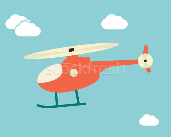 Kırmızı helikopter dizayn uçan turuncu yeşil Stok fotoğraf © Photoroyalty