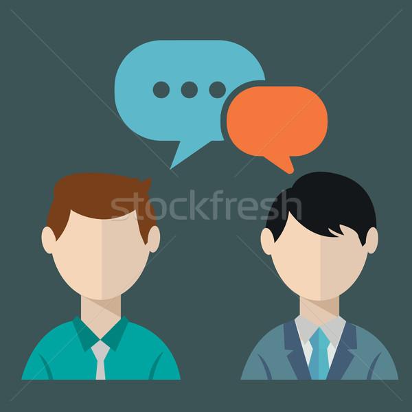 Stok fotoğraf: Iki · işadamları · sohbet · konuşma · iş