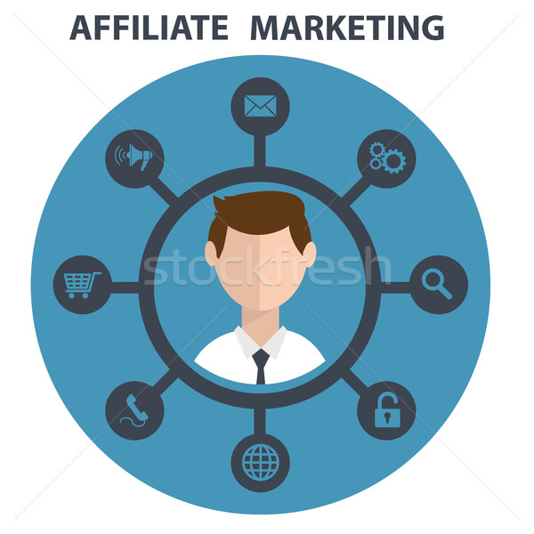 Vector illustration icon of affiliate marketing in circle Stock photo © Photoroyalty