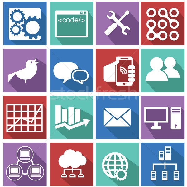 Resources objects and management icons set. Stock photo © Photoroyalty