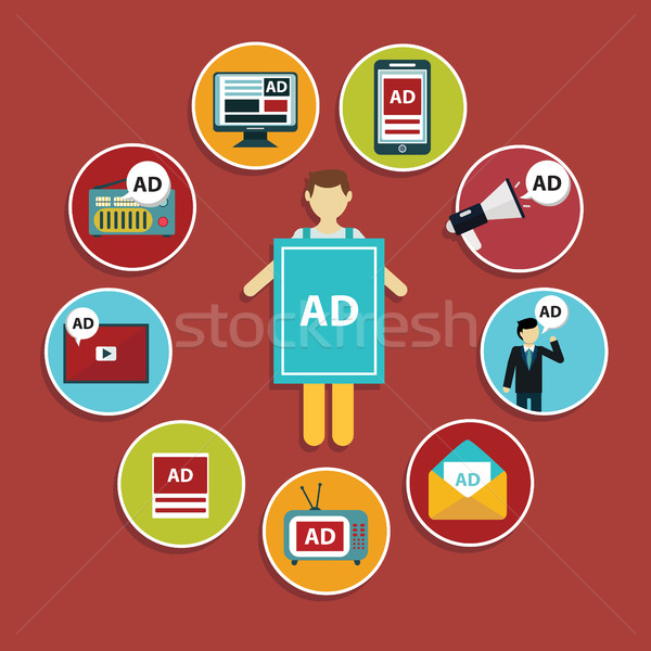 Reclame ontwerp ingesteld media marketing iconen Stockfoto © Photoroyalty
