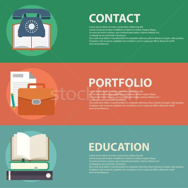 стиль бизнеса портфеля контакт образование веб Сток-фото © Photoroyalty