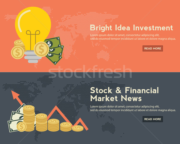 Flat design concepts for business, finance, stock market and financial market news, consulting, m-ba Stock photo © Photoroyalty