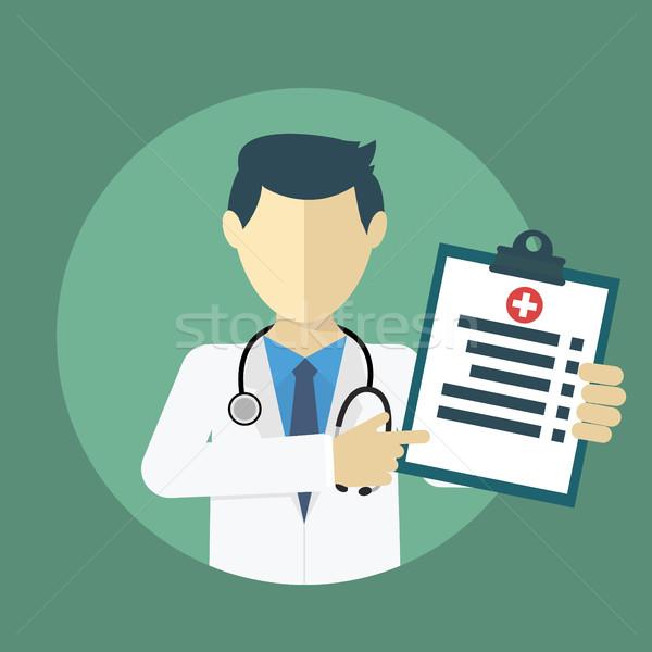 Doctor showing diagnoses flat design. Stock photo © Photoroyalty