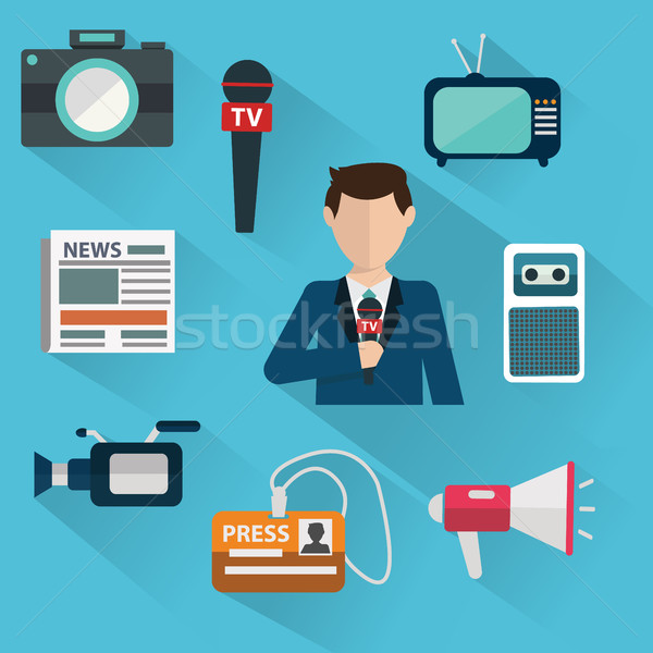 News cast journalism television radio press conference concept, vector illustration. Icons set in fl Stock photo © Photoroyalty